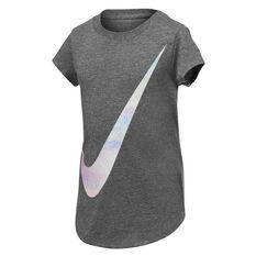 Nike Girls Swoosh Rise Tee Charcoal 4, Charcoal, rebel_hi-res