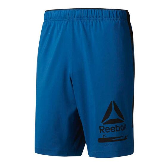 Reebok Mens Workout Ready Graphic Shorts Blue S, Blue, rebel_hi-res
