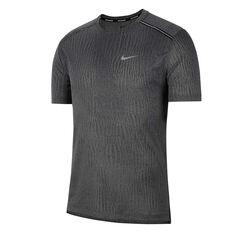 Nike Mens Dri-FIT Miler Jacquard Running Tee Black XS, Black, rebel_hi-res