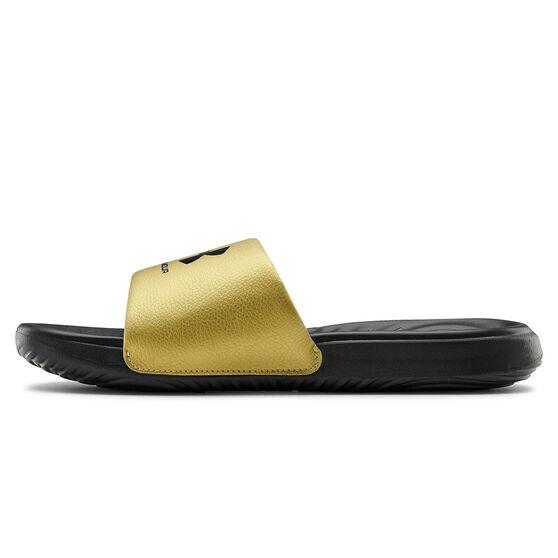 Under Armour Ansa Fixed Womens Slides, Black/Gold, rebel_hi-res