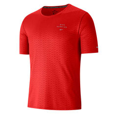 Nike Mens Miler Run Division Tee Red S, Red, rebel_hi-res