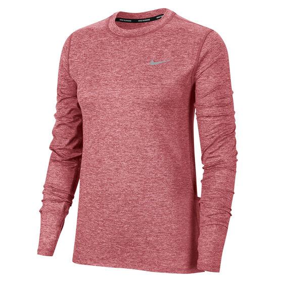 Nike Womens Dri-FIT Element Crew Running Top Pink XL, Pink, rebel_hi-res