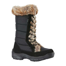 Rojo Womens Snow Fox Snow Boots Black US 5, Black, rebel_hi-res