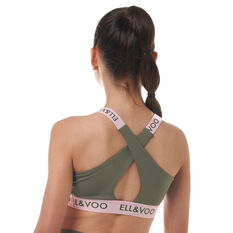 Ell & Voo Girls Naomi Crop Top Olive 8, Olive, rebel_hi-res