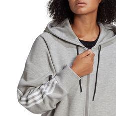 adidas Womens Sportswear Wrapped 3-Stripes Hoodie, Grey, rebel_hi-res