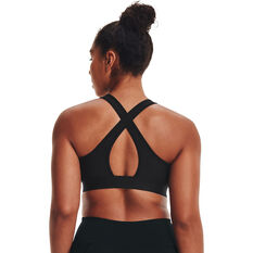 Under Armour Womens Mid Crossback Graphic Sports Bra Black XS, Black, rebel_hi-res