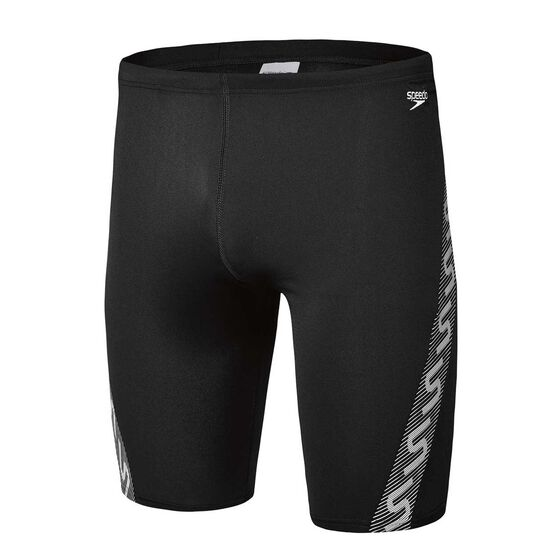 Speedo Mens Monogram Waterboy Swim Shorts, Black / White, rebel_hi-res