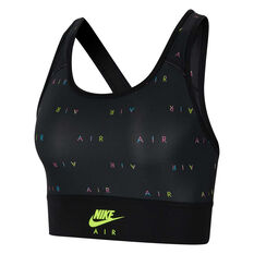 Nike Air Womens Swoosh Medium Support Sports Bra Black XS, Black, rebel_hi-res