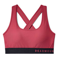 Under Armour Womens Mid Crossback Printed Sports Bra Pink XS, Pink, rebel_hi-res