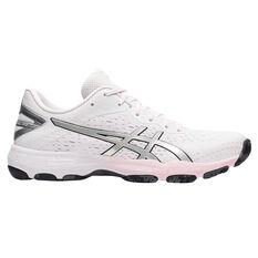 Asics GEL Netburner Professional 2 Womens Netball Shoes White/Silver US 7, White/Silver, rebel_hi-res