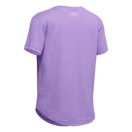 Under Armour Girls Branded Repeat Tee Purple XS, Purple, rebel_hi-res