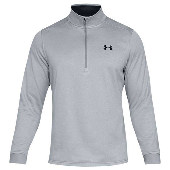 Under Armour Mens Armour Fleece Half Zip Longsleeve Shirt, Grey / Black, rebel_hi-res