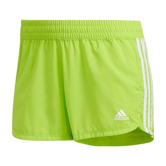 adidas Womens Pacer 3-Stripes Woven Shorts, Green, rebel_hi-res