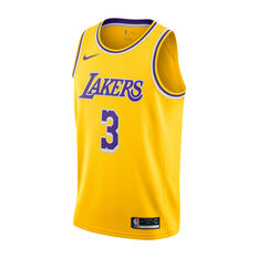 Nike Los Angeles Lakers Anthony Davis Mens Icon Edition Swingman Yellow / Purple S, Yellow / Purple, rebel_hi-res