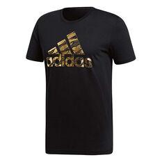 adidas Mens Badge of Sport Foil Tee Black S, Black, rebel_hi-res