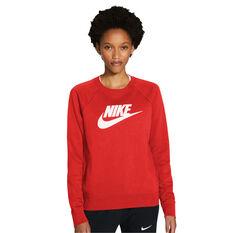 Nike Womens Sportswear Essential Fleece Sweatshirt Red XS, Red, rebel_hi-res