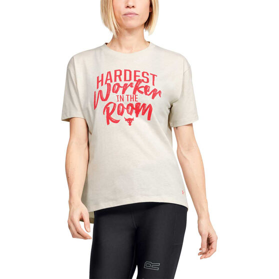 Under Armour Womens Project Rock Customize Tee, White, rebel_hi-res