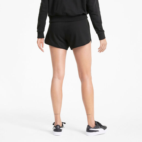 Puma Womens Modern Basics 3in High Waist Shorts, Black, rebel_hi-res
