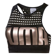 Puma Womens Mid Impact Sports Bra Black XS, Black, rebel_hi-res