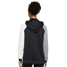 Nike Womens Therma-FIT Fleece Colour-Block Hoodie Black XS, Black, rebel_hi-res