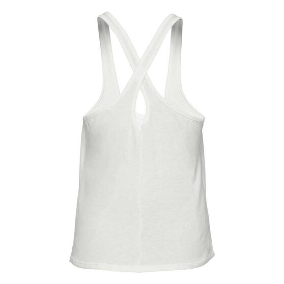 Under Armour Womens Graphic Script Xback Tank, White / Pink, rebel_hi-res