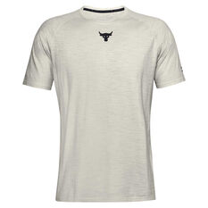 Under Armour Mens Project Rock Charged Cotton Tee White XS, White, rebel_hi-res