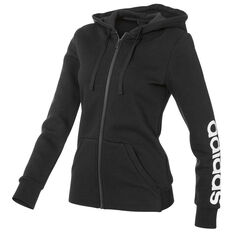 adidas Womens Essentials Full Zip Linear Hoodie Black XS Adult, Black, rebel_hi-res