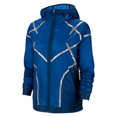 Nike Womens Hooded Running Jacket Blue M, Blue, rebel_hi-res
