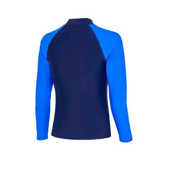 Zoggs Boys Long Sleeve Rash Vest, Navy / Blue, rebel_hi-res