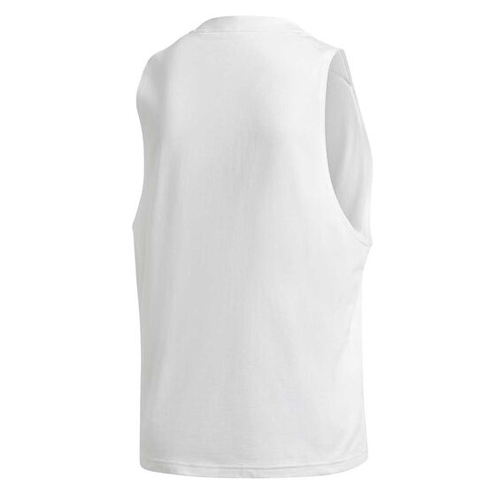 adidas Womens Badge of Sport Cotton Tank, White, rebel_hi-res
