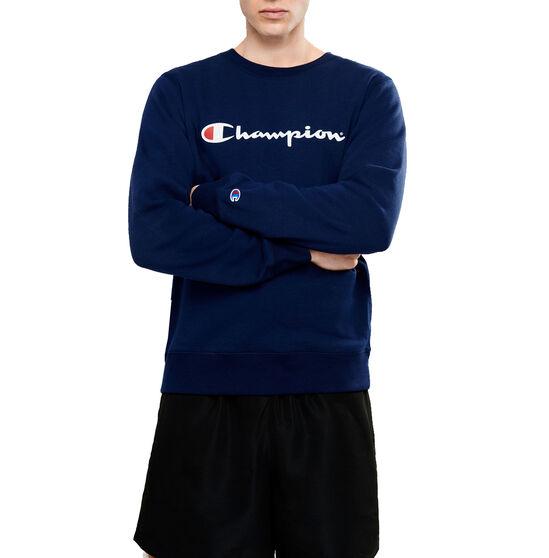 Champion Mens Script Crew Sweatshirt, Navy, rebel_hi-res