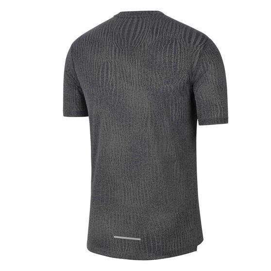 Nike Mens Dri-FIT Miler Jacquard Running Tee, Black, rebel_hi-res
