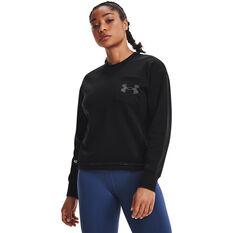 Under Armour Womens UA Rival Fleece Mesh Crew Sweatshirt Black XS, Black, rebel_hi-res