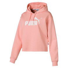 Puma Womens Essentials Plus Cropped Hoodie Peach XS, Peach, rebel_hi-res