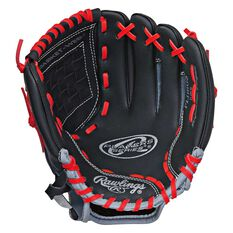 Rawlings Players Right Hand 11in Baseball Glove Black / Red, , rebel_hi-res