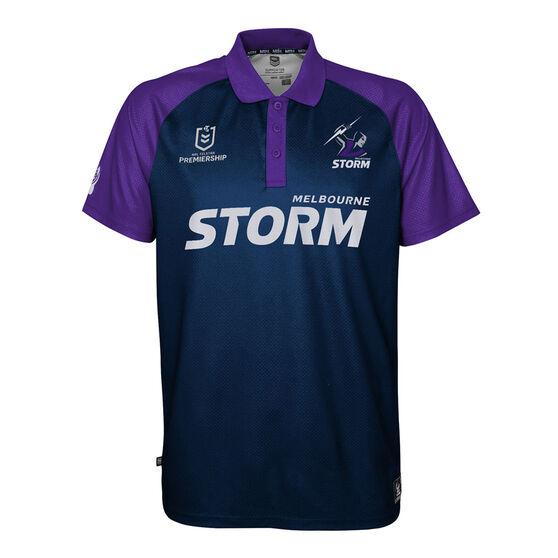 Melbourne Storm 2021 Mens Polo, Navy, rebel_hi-res