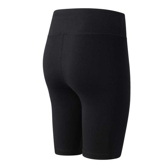 New Balance Womens Athletics Village Biker Shorts, Black, rebel_hi-res