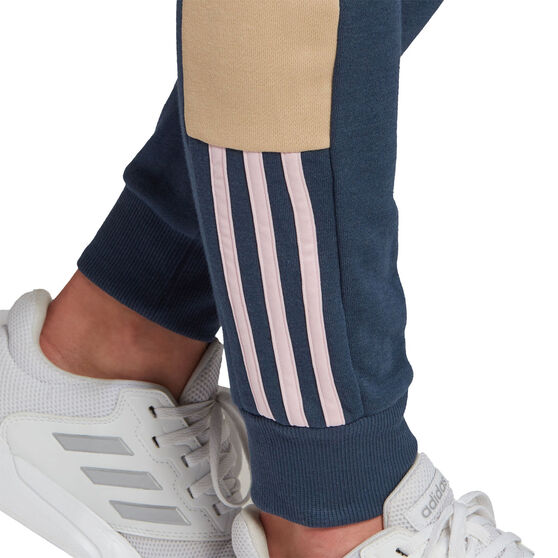 adidas Womens Essentials Logo Colourblock Pants, Navy, rebel_hi-res