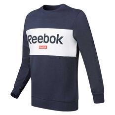 Reebok Mens Training Essentials Linear Logo Sweatshirt Navy S, Navy, rebel_hi-res