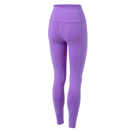 Running Bare Womens Ab Tastic Studio Full Length Tights, Purple, rebel_hi-res