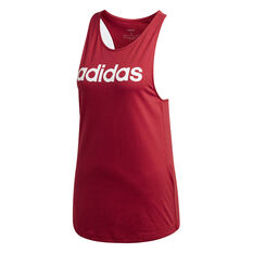adidas Womens Essentials Linear Loose Tank, Maroon, rebel_hi-res