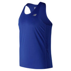 New Balance Mens Accelerate Singlet Blue S, Blue, rebel_hi-res