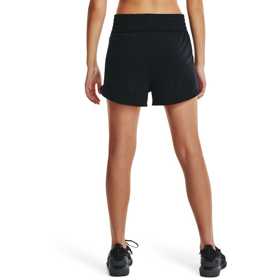 Under Armour Womens Project Rock Terry Shorts, Black, rebel_hi-res