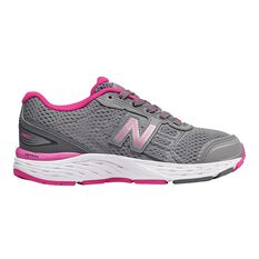New Balance 680v5 Kids Running Shoes Grey / Pink US 11, Grey / Pink, rebel_hi-res