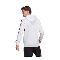 adidas Mens Essentials Colourblock Logo Hoodie, White, rebel_hi-res