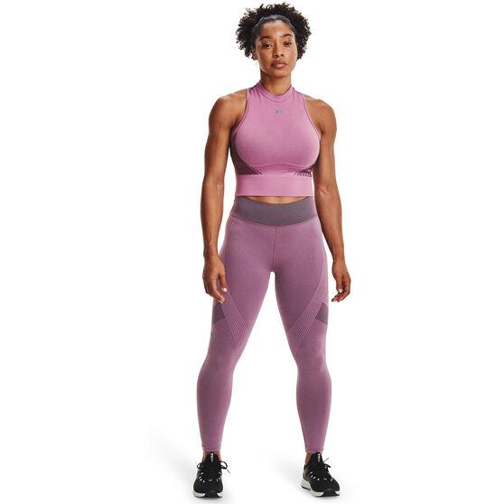 Under Armour Womens UA Rush Seamless Crop Top, Purple, rebel_hi-res