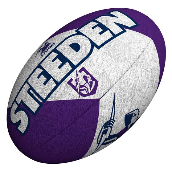 Steeden NRL Melbourne Storm 11 Inch Supporter Rugby League Ball Purple 11 Inch, , rebel_hi-res