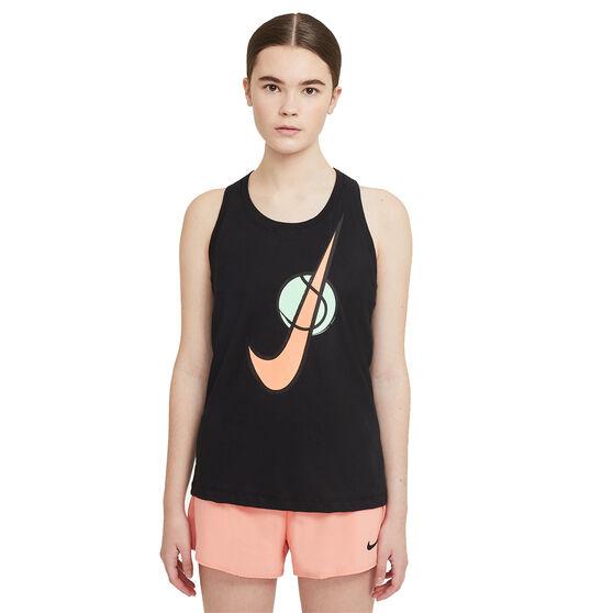 Nike Womens Swoosh Tennis Tank, Black, rebel_hi-res