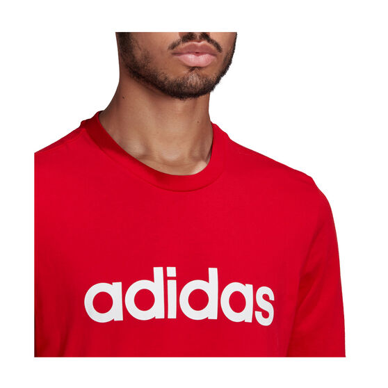 adidas Mens Essentials Linear Logo Tee, Red, rebel_hi-res