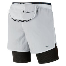 Nike Mens Run Division 3 in 1 Running Shorts White XS, White, rebel_hi-res